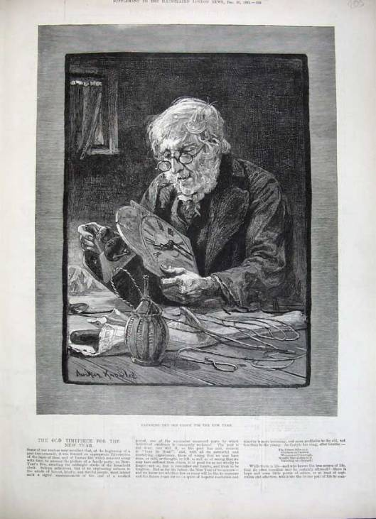 Antique print of 1882 knowles fine art old Man cleaning clok New Year .